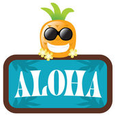 Hawaiian Pineapple with Aloha Sign — 图库矢量图片
