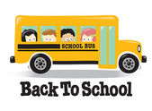 Back To School bus w/ kids — Stok Vektör