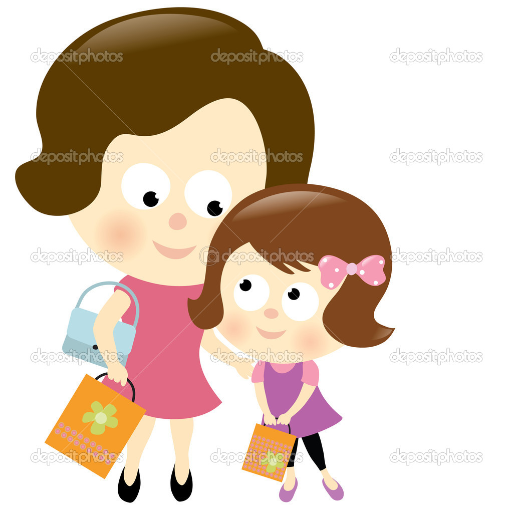 Mother and daughter shopping 2 stock illustration