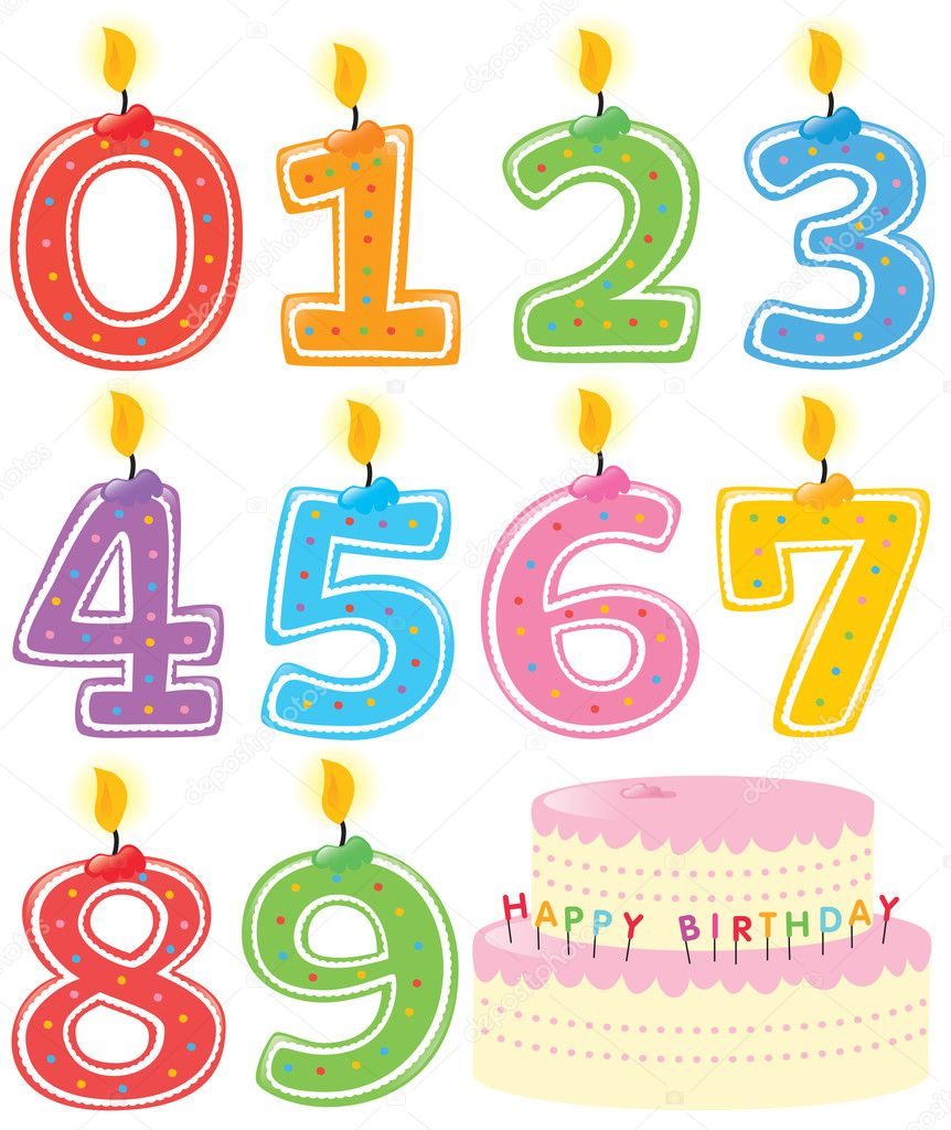 Numbered Birthday Candles and Cake Isolated — Stock Vector #3117118