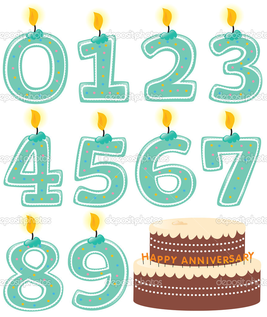 Anniversary Numeral Candle Set and Cake Isolated  Stock Vector #3117121