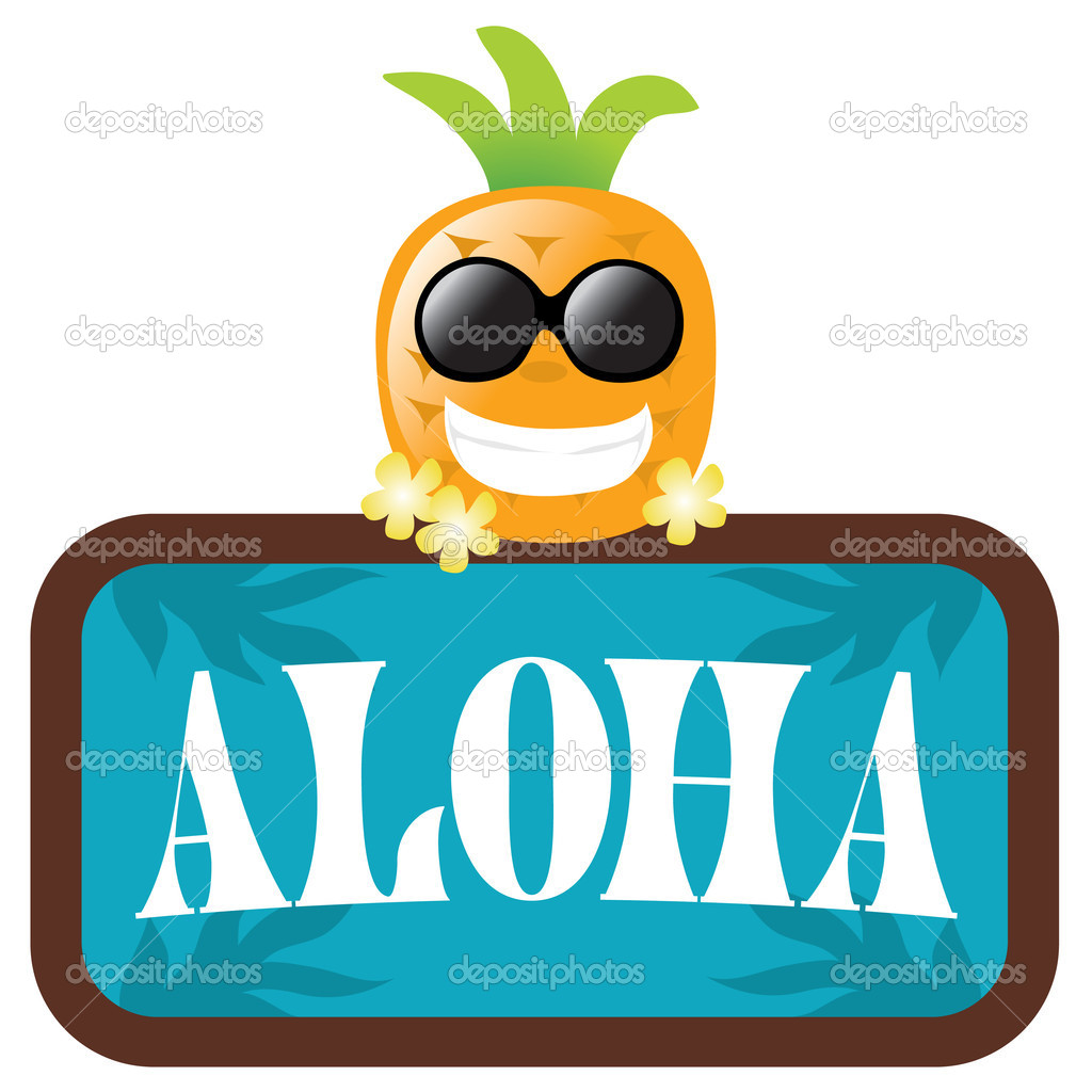Isolated Pineapple with Aloha Sign (Hawaii) — Stock Vector #3117172