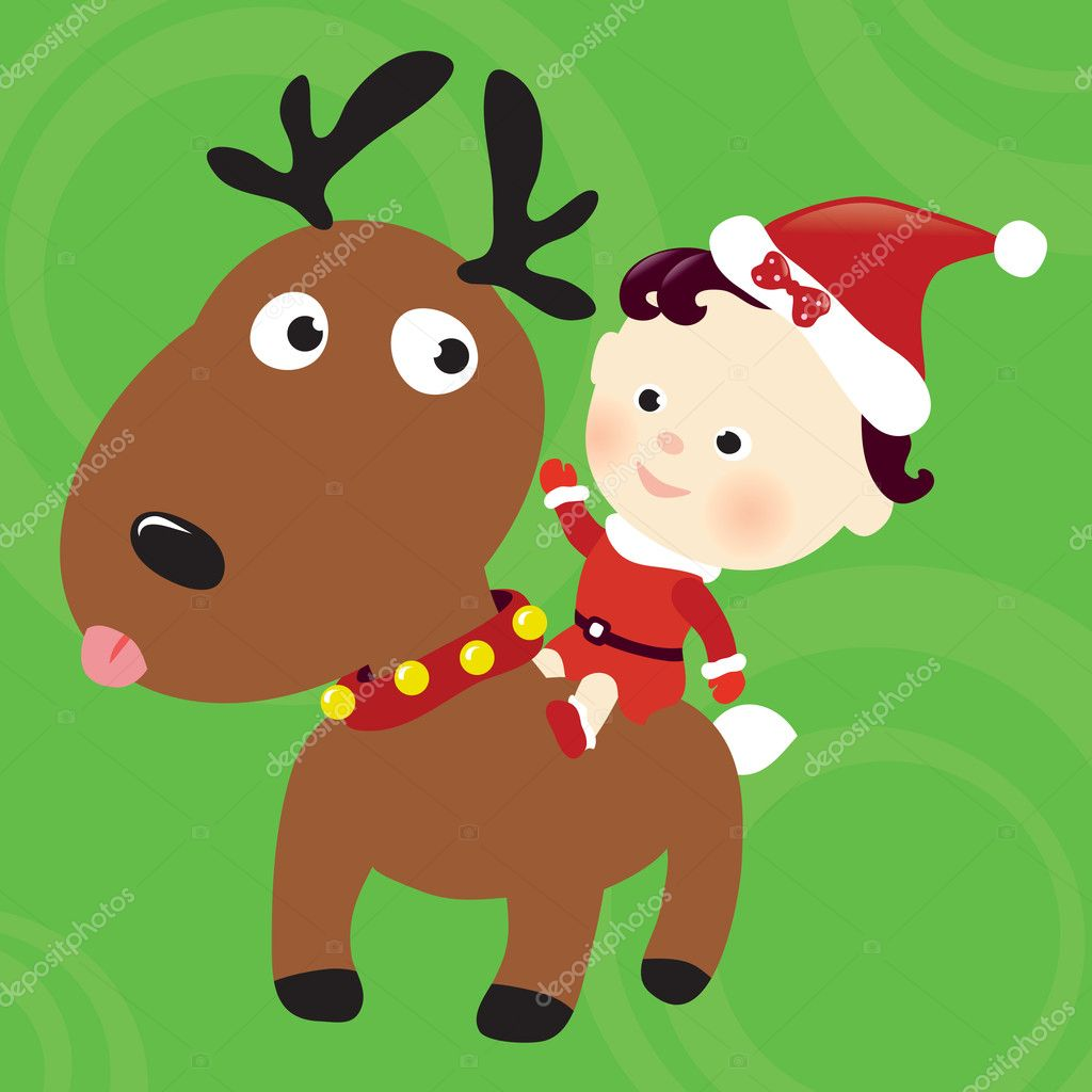 Christmas reindeer and child illustration — Stock Vector #3117586