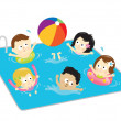 Kids having fun in the pool — Vector de stock #3132496