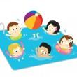 子供たちはプールで楽しんで — ストックベクタ