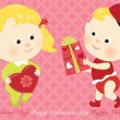 Valentine babies holding presents — Stock Vector