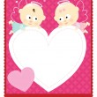 Stock Vector: Valentine flyer w/ angels
