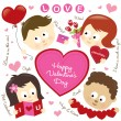 Valentine elements w/ kids — Stock Vector