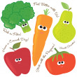 Смешанные фрукты и овощи 2 — Cтоковый вектор