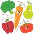 smíšené ovoce a zelenina 2 — Stock vektor