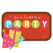 Party items with sign — Stock Vector
