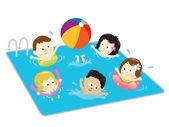Kinderen vermaken in het zwembad — Stockvector