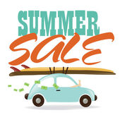Summer Sale w/ car — Stock Vector