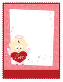 Valentine Template w/ Baby Angel — Stock Vector