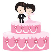 Bride and Groom Cake — Stock Vector
