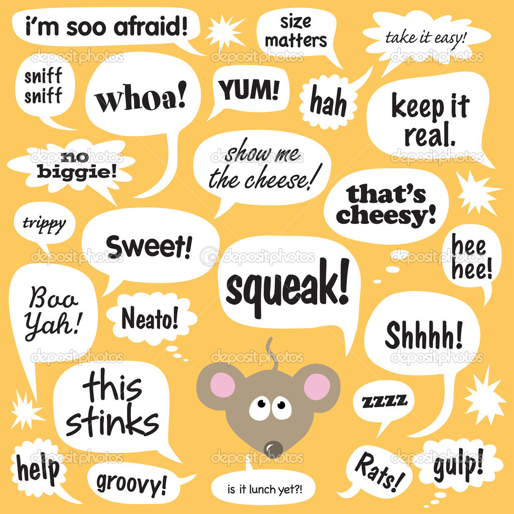 Various phrases in comic balloons w/ mouse  Stock Vector #3132508