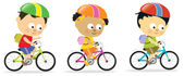 Multi-ethnic kids biking — Stock Vector