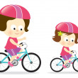 Royalty-Free Stock Vector Image: Mother and daughter biking