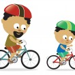 Father and son biking (African American) — Stock Vector