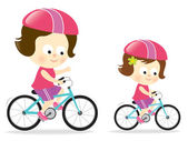Madre e figlia bike — Vettoriale Stock