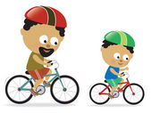 Father and son biking (African American) — Vector de stock