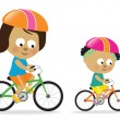 Mother and daughter biking 2 — Stock Vector