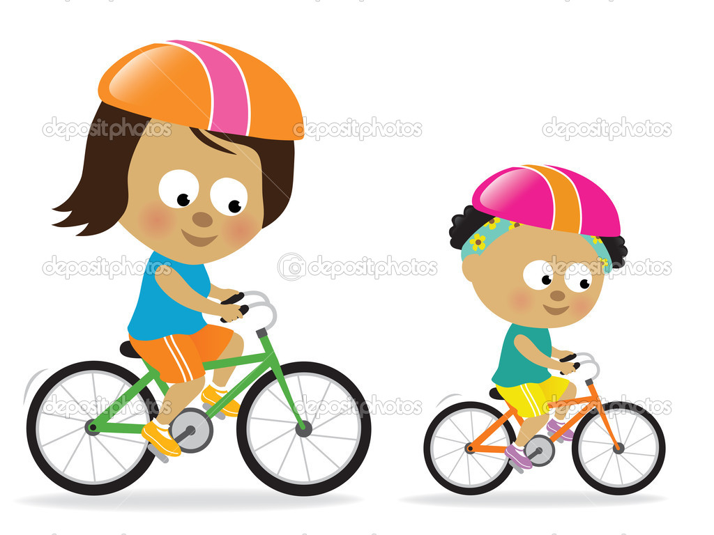 Mother and daughter biking (African American) — Stock Vector #3173634