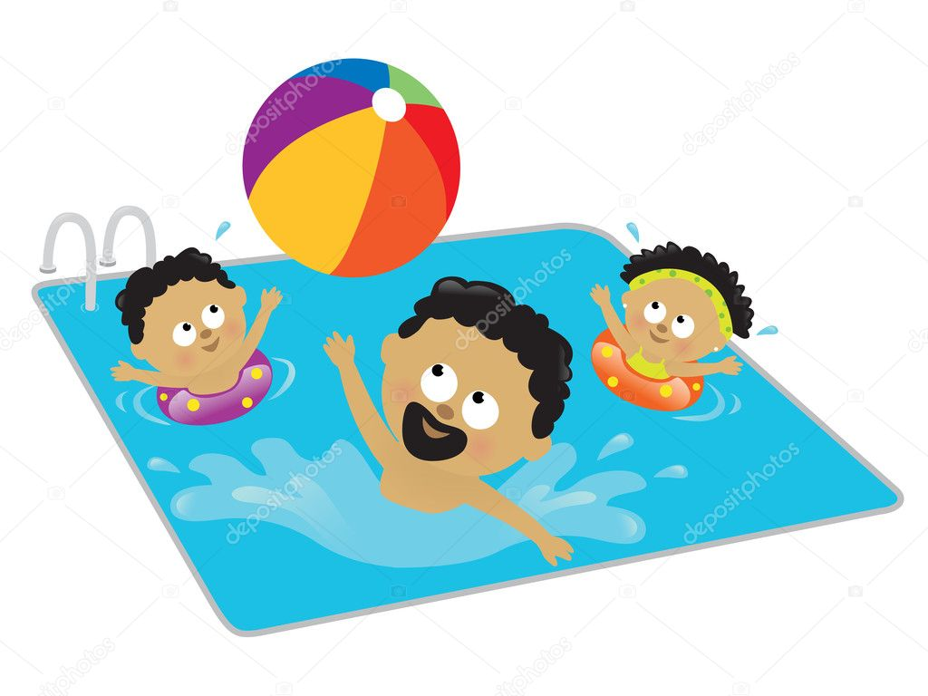 Father and kids playing in a pool - Stock IllustrationKids Pool Clip Art