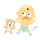 Scared baby and teddy bear — Stock Vector