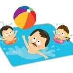 父とのプールで遊ぶ子供たち — ストックベクタ