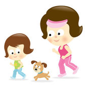 Mother and daughter jogging — Stock Vector