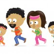 Stock Vector: Family jogging (African American)