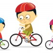 Father and kids biking (Asian) - Stock Vector