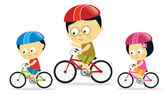 Father and kids biking (Asian) — Stock Vector
