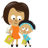 Mother and daughter shopping (African-American) — Stock Vector