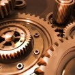 Bronze gears in a single mechanism - Stock Photo