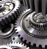 Steel gears in a single mechanism — Stock Photo