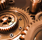 Bronze gears in a single mechanism — Stock Photo