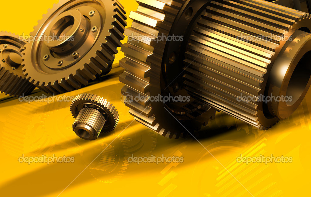 A gear mechanism on a yellow — Stock Photo #3052871
