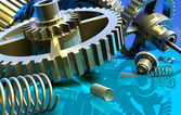 Gear wheel and spring — Stock Photo
