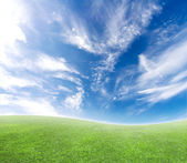 Jednoduché zakřivené horizont modré a zelené — Stock fotografie