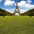 Beautiful Eiffel tower with huge grass — Stock Photo