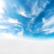 Blue sky snowy hills — Stock Photo