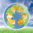 Ecology symbol over earth. — Stock Photo