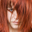 Cute redhead girl with messy hair — Stok fotoğraf