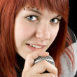 Girl singing on microphone — Stock Photo #3047970