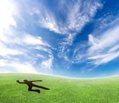 Skydiver falling from the sky. — Stock Photo