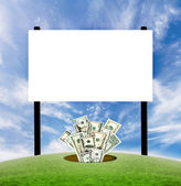 Billboard blank sign with dollars coming from th — Stock Photo