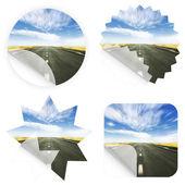 Idylliska väg klistermärken — Stockfoto