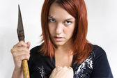 Girl being stoped while murdering — Stock Photo